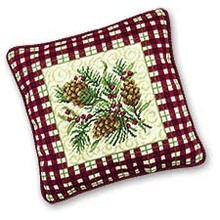 Rustic Pine Needlepoint Pillow
