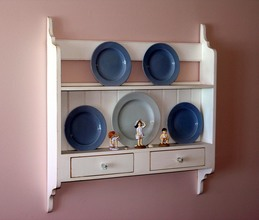 Southern Pine Hanging Plate Rack with drawers