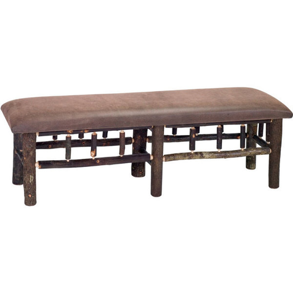 Upholstered Hickory Bench