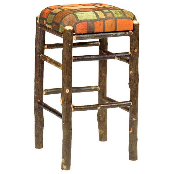 Hickory Square Backless Barstool