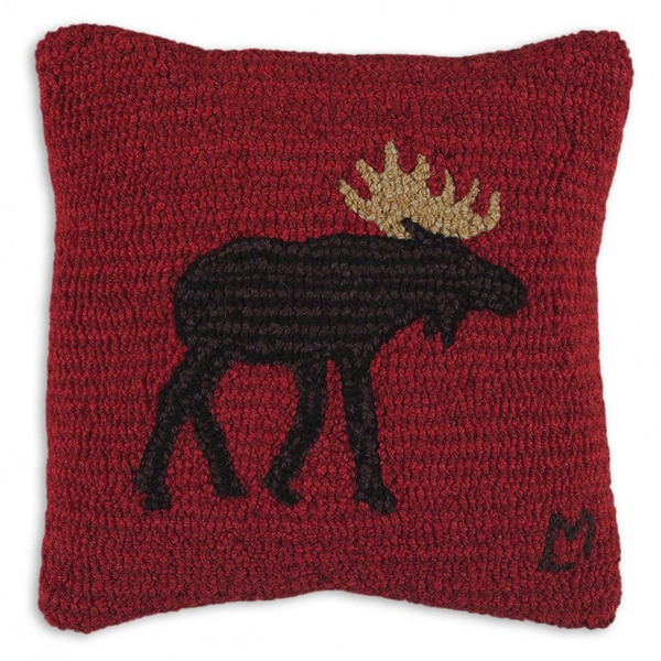 Brown Moose Hooked Pillow by Chandler 4 Corners