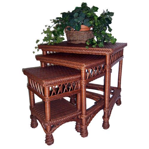 Bar Harbor Or Rockport Wicker Nesting Tables