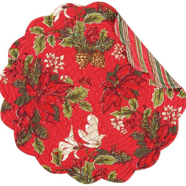Poinsettia and Pine Round Placemats/SET OF 4