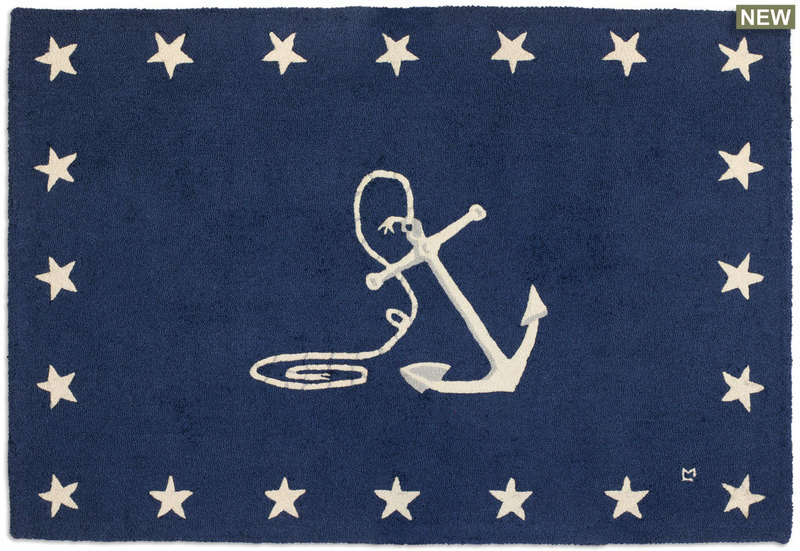 Anchor with stars hooked wool rug