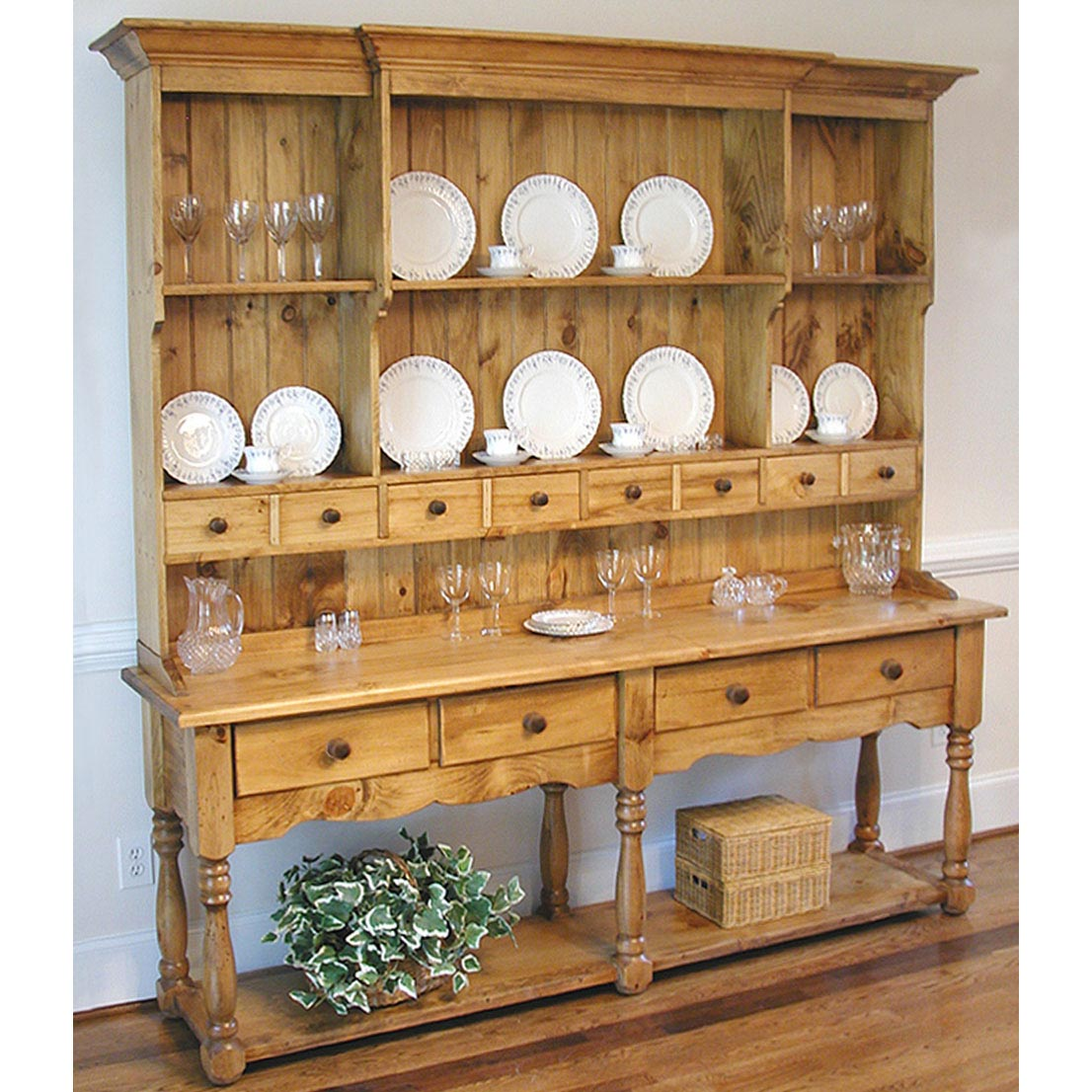 Southern Pine Wide French Hutch
