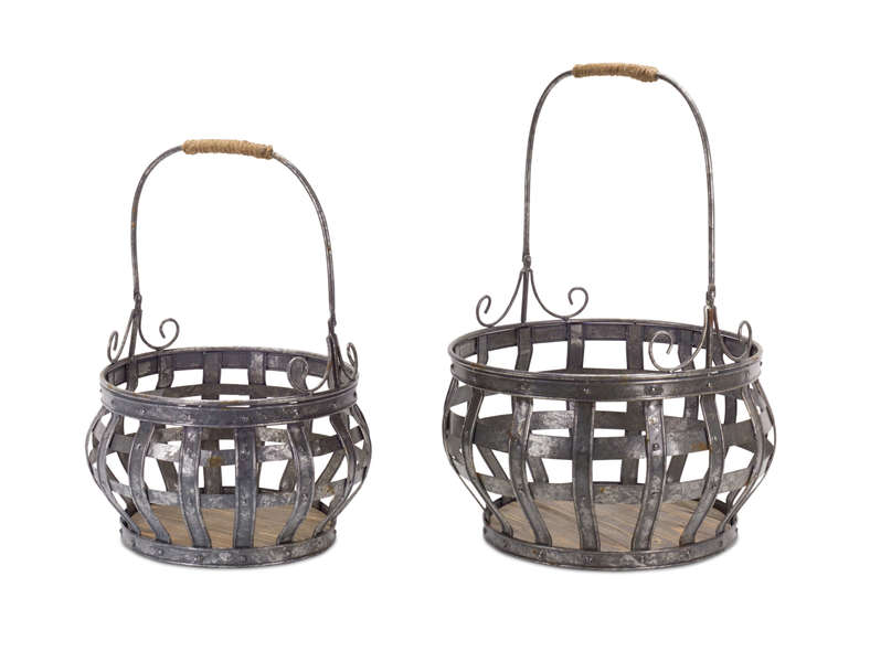 "Basket (Set of 2) 19"", 23.5""H Metal"