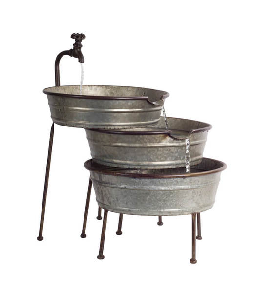 "Fountain with Tubs 26""H Metal"