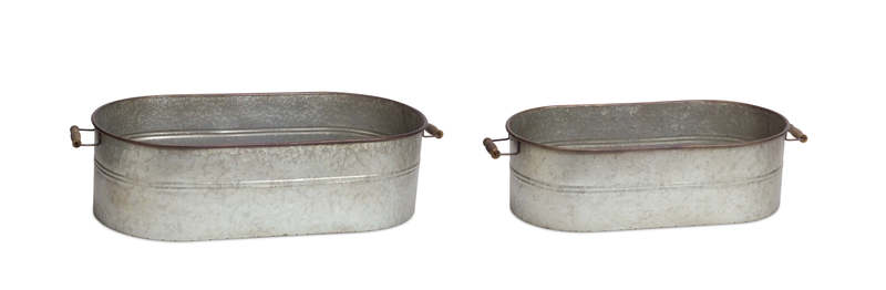 "Oval Containers (Set of 2) 7""H,  8""H Metal"