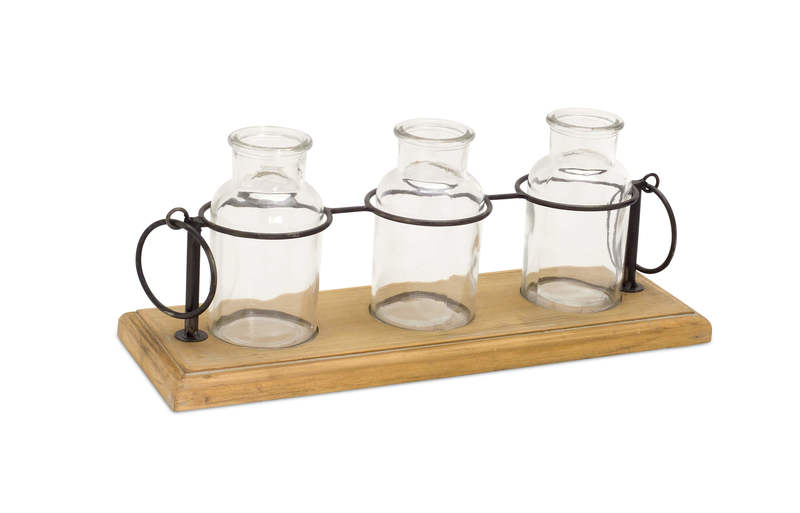 "Bottles in Stand (Set of 2) 5.5""H Glass/Wood/Metal"