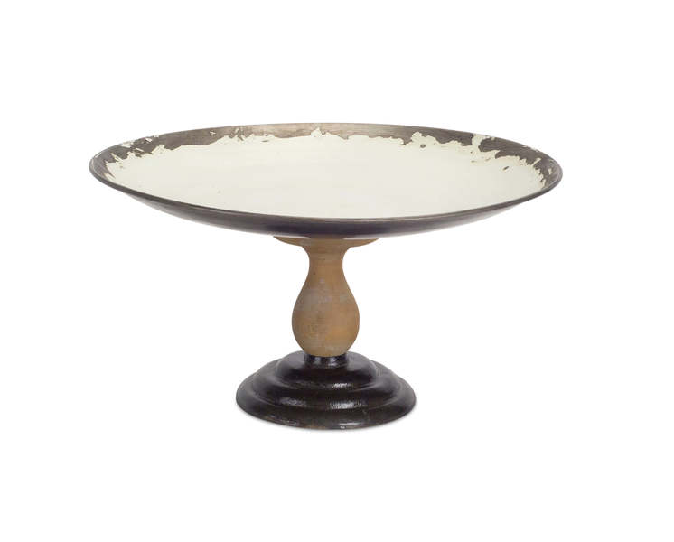 "Tray on Pedestal 7""H Metal/Wood"