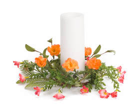 "Moss Rose Candle Ring (Set of 6) 13.5""D (fits 4"" candle) Polyester/Plastic"