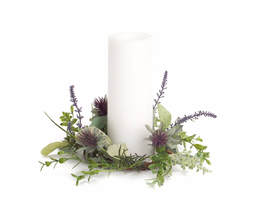 "Herb/Thistle Candle Ring (Set of 6) 10.5""D (fits 4"" candle) Polyester/Plastic"
