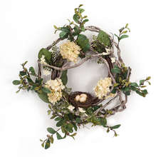 Hydrangea/Bird Nest Wreath