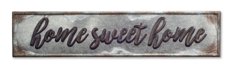 "Home Sweet Home Plaque (Set of 2) 36""x8""H Metal"