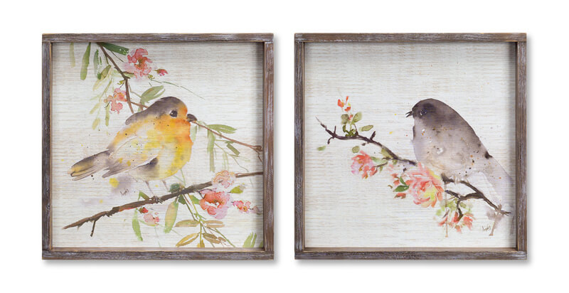 Bird/Framed Plaque (Set of 2)