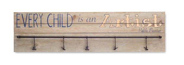 "Every Child is an Artist Plaque w/Hooks (Set of 2) 31.5""L x 9""H Wood/Metal"