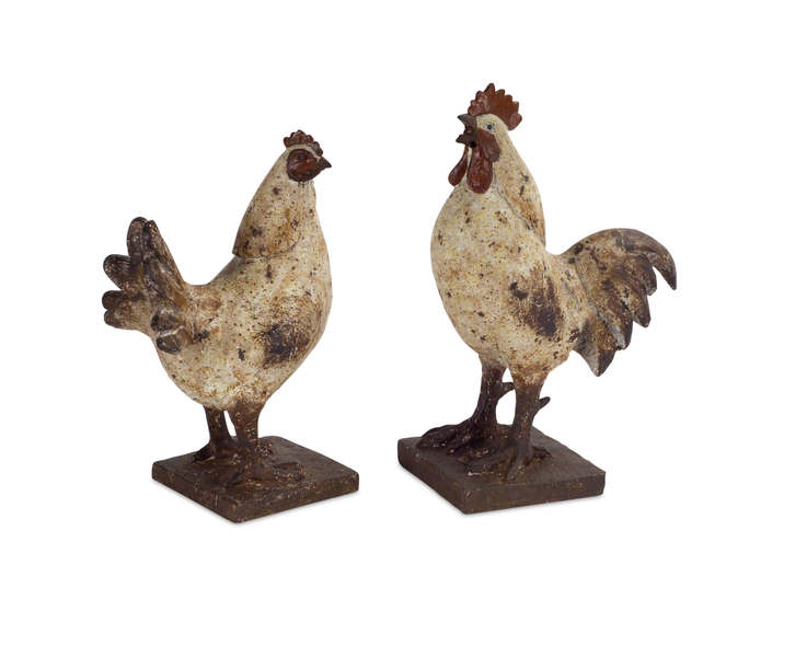"Chicken/Rooster (Set of 4) 9""H, 10""H Polystone"