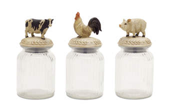 "More about the 'Farm Animal Jar (Set of 3) 9.5""H Glass/Resin' product"