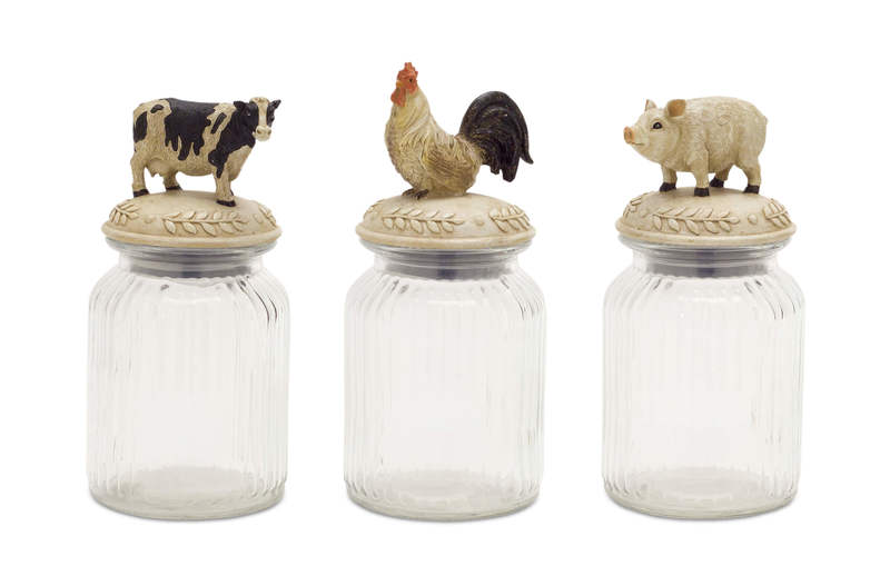 "Farm Animal Jar (Set of 3) 9.5""H Glass/Resin"