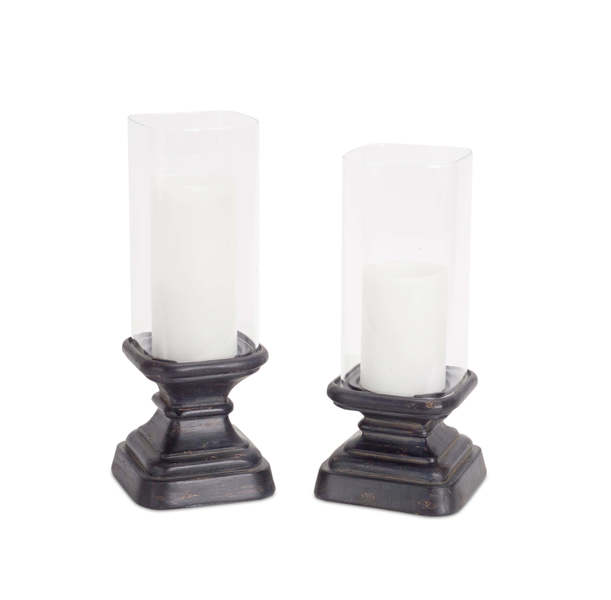 "Square Candleholder w/Glass (Set of 2) 11.5""H, 12.5""H Glass/Resin"