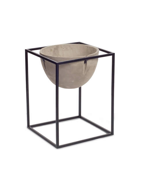 "Pot with Stand 14.5""H Cement/Metal"