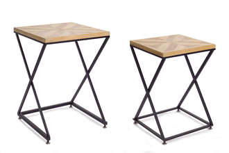"Accent Table (Set of 2) 23""H, 26""H Wood/Metal"