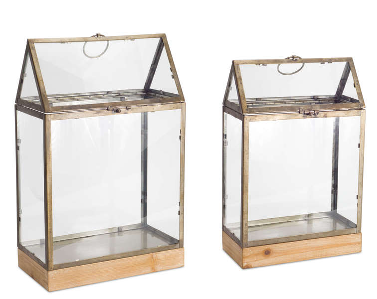"Terrarium (Set of 2) 18""H, 21.5""H Glass/Metal"