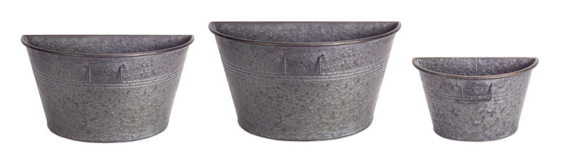 "More about the 'Half Tub Container (Set of 3) 8.5""H, 10""H, 12""H Metal' product"
