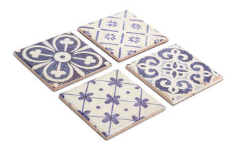 "Blue and White Tile Coaster (Set of 16) 4"" Ceramic"