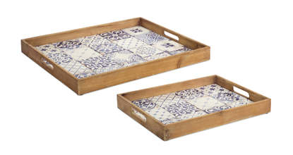 More about the 'Blue and White Tile Tray (Set of 2)' product