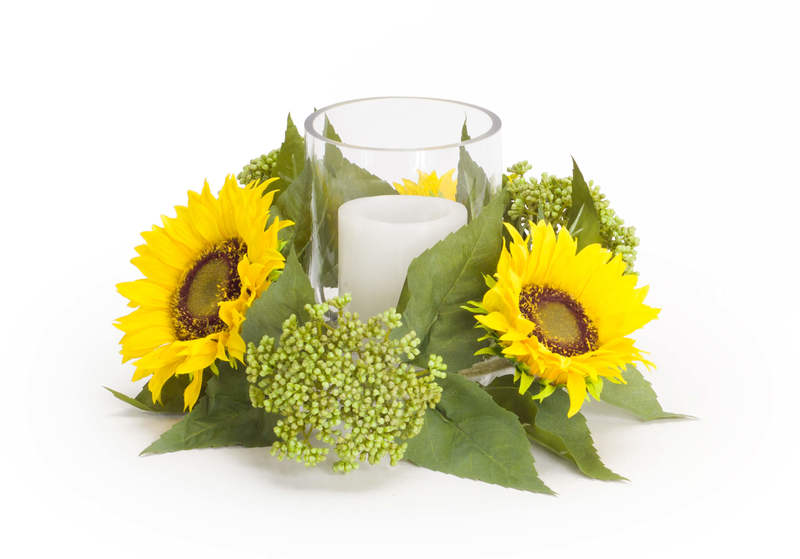 "Sunflower/Seedum Candleholder 6.5""H"