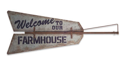 "More about the 'Welcome to our Farmhouse Wall Plaque 48""x19.5""H Metal' product"
