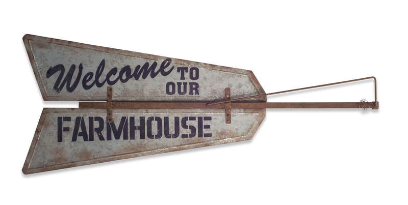 "Welcome to our Farmhouse Wall Plaque 48""x19.5""H Metal"