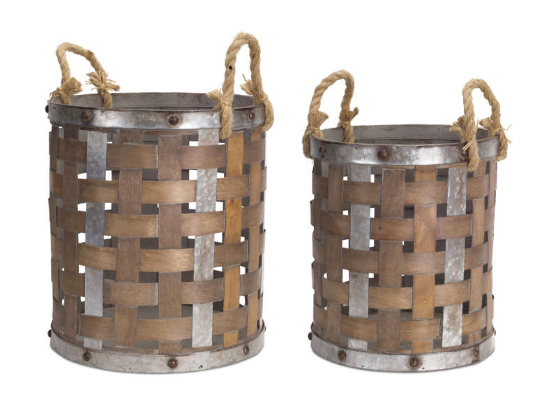 "Pail with Rope Handle (Set of 2) 15.5""H, 18""H Wood/Metal"