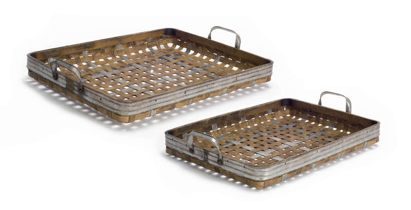 "Woven Tray (Set of 2) 18.5""D, 21""D Bamboo/Metal"