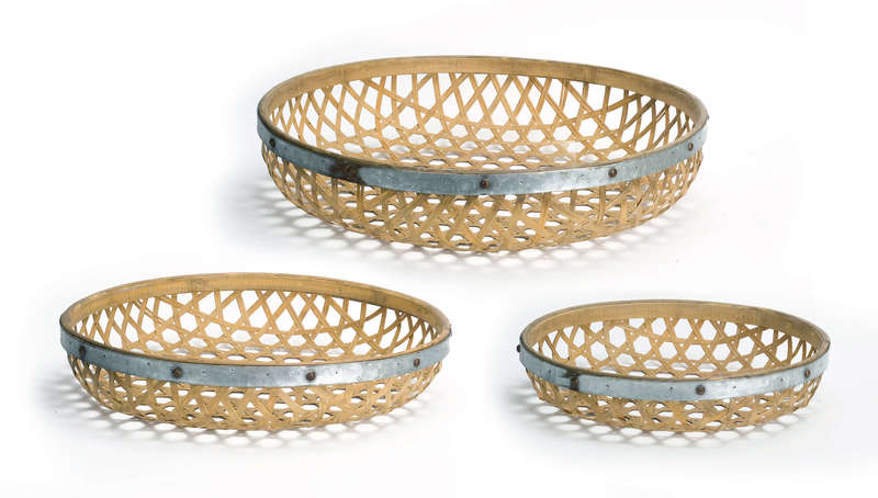 "Round Woven Tray (Set of 3) 17""D, 20""D, 23.5""D Bamboo/Metal"