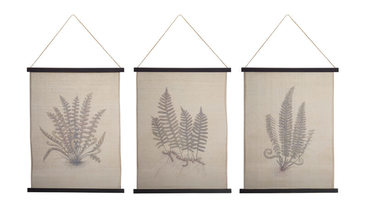 "Fern Wall Hanging (Set of 3) 25.5""x46""H Cotton/Wood"