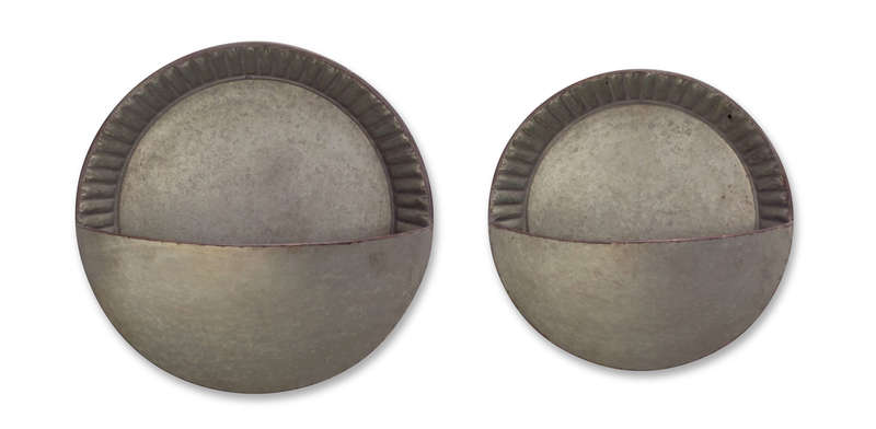 "Half Round Wall Pocket  (Set of 4) 5.5""H, 8""H Metal"
