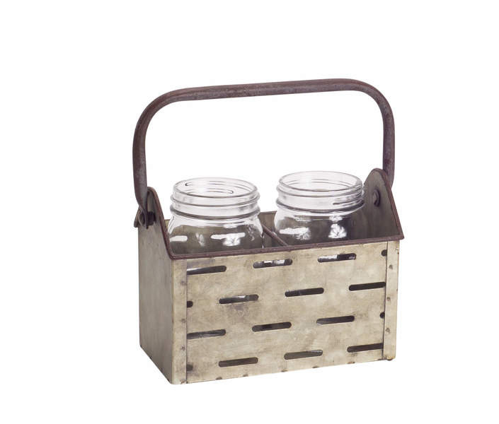 Jar x2 in Metal Holder (Set of 2)