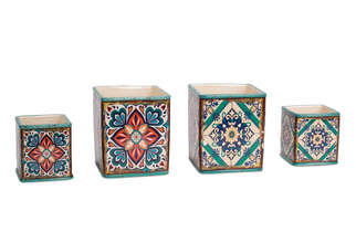 "More about the 'Blue Tile Pot (Set of 8) 4.5""H, 6.5""H Ceramic' product"