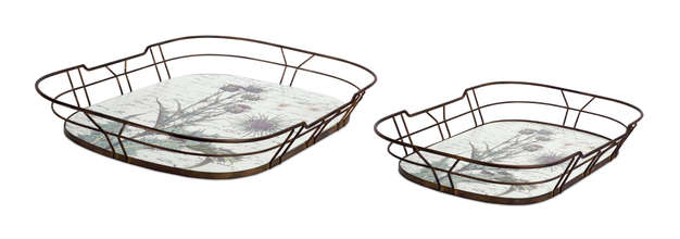 "More about the 'Thistle Tray (Set of 2) 20""L, 23.5""L Wood/Metal' product"