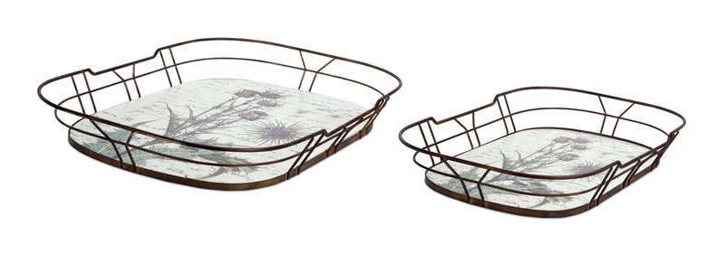 "Thistle Tray (Set of 2) 20""L, 23.5""L Wood/Metal"