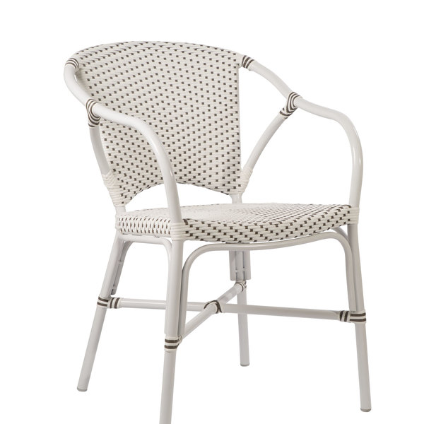 Valerie EXTERIOR Arm Chair by Sika White with Cappuccino Dots