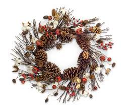 "More about the 'Eucalyptus Pod and Cone Wreath 24""D Cotton/Pine Cone' product"