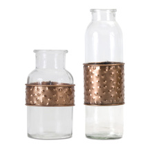 "More about the 'Bottle With Metal Wrap (Set of 4) 3.5"" x 5""H, 3"" x 7.5""H Glass/Iron' product"