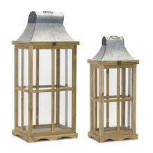 "More about the 'Lantern (Set of 2) 24""H, 29.5""H Glass/Wood/Zinc' product"