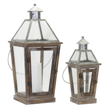 "More about the 'Lantern (Set of 2) 17.5""H, 26.5""H Glass/Wood/Zinc' product"