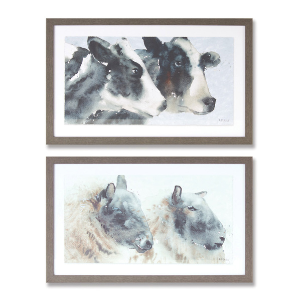 "Cow And Sheep Print (Set of 2) 18.25"" x 11.25""H Plastic/Paper"