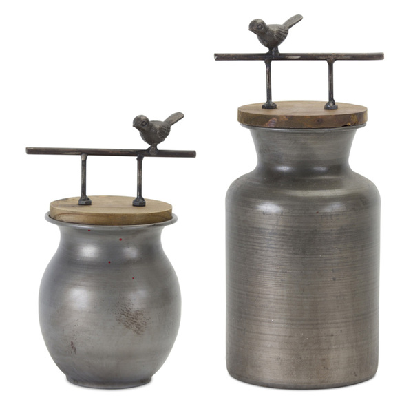 "Jar With Bird Handle (Set of 2) 8.5""H, 11.25""H Iron/Wood"