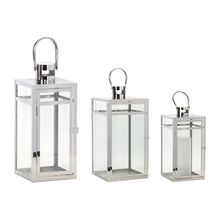 "More about the 'Lantern (Set of 3) 11.75""H, 16""H, 20.5""H Stainless Steel/Glass' product"